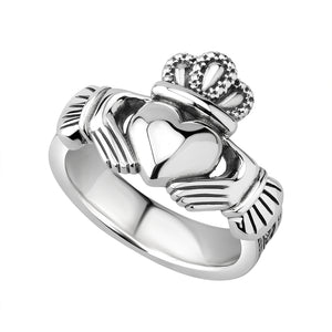 Solvar Silver Gents Celtic Claddagh Ring