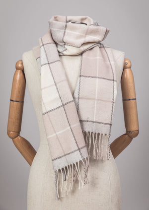 Foxford Blush Block Check Scarf