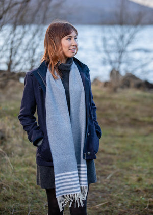 Foxford Lambswool Blue Striped Scarf