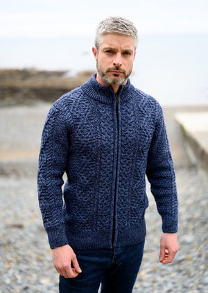 Mens Merino Wool Fisherman Full Zip Denim Sweater
