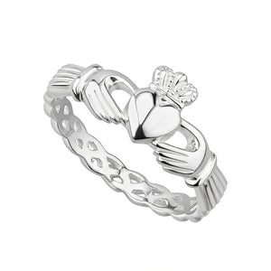 Sterling Silver Woven Claddagh Ring Solvar
