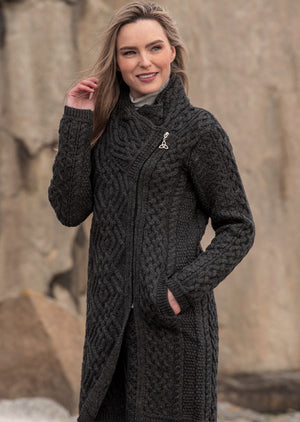 Aran Crafts Charcoal Cable Knit Side Zip Coat