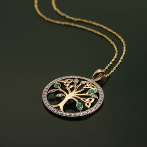 Solvar 14K Gold Diamond & Emerald Tree Of Life Pendant