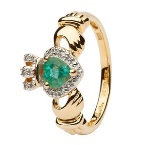 Ladies Yellow Gold Claddagh Ring Set With Emerald And Diamond