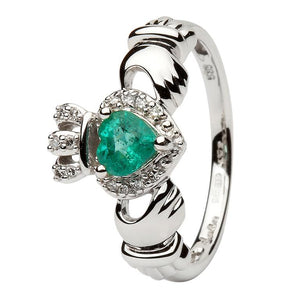 Ladies White Gold Claddagh Ring Set With Emerald And Diamond