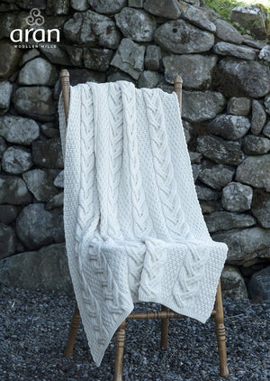 Aran Chunky Cable Knot Super Soft Merino Wool Throw