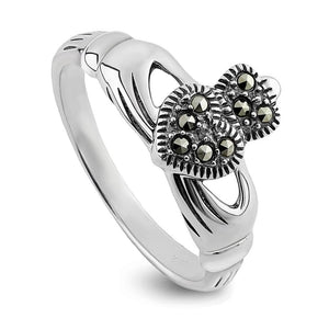 Solvar Sterling Silver Marcasite Claddagh Ring