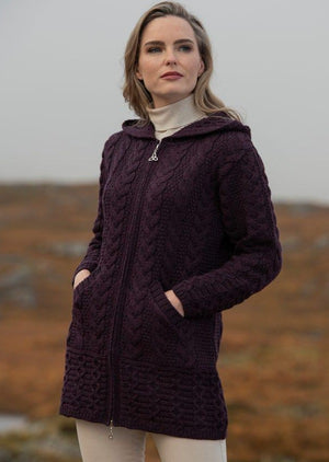 Damson Galway Coat With Celtic Knot Zipper