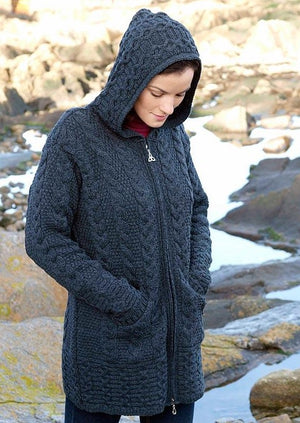 Aran Crafts Galway Charcoal Coat With Celtic Knot Zipper