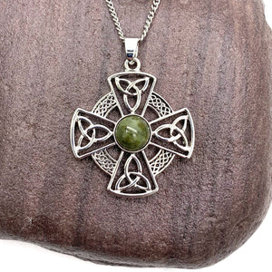 Solvar Rhodium Marble Celtic Cross Pendant