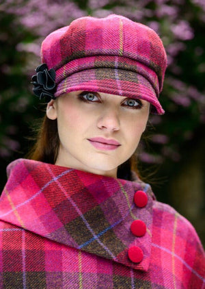 Mucros Pink Check Newsboy Hat 223