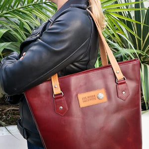 Lee River Red Leather Tote Bag