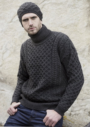 Aran Merino Polo Neck Unisex Sweater