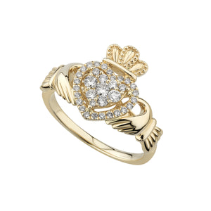 Solvar 14k Diamond Claddagh Ring s21096