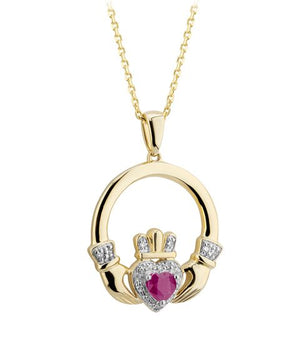 Solvar 14K Ruby & Diamond Claddagh Pendant