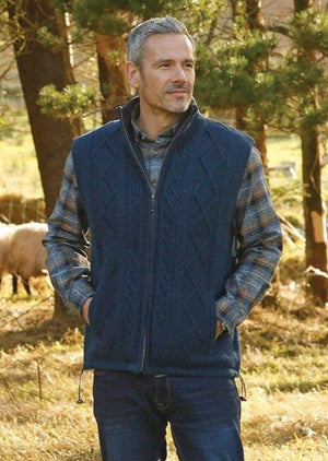 Men's Lined Blue Aran Body Warmer