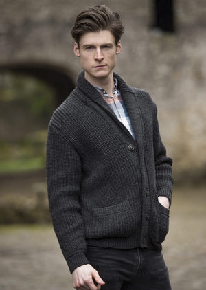Aran Crafts Ribbed Charcoal Cardigan