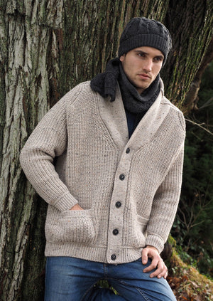 Aran Crafts Ribbed Gents Oatmeal Cardigan