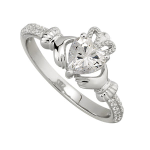 Solvar April Claddagh Birthstone Ring