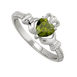 Solvar August Peridot Claddagh Birthstone Ring
