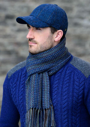 Mucros Blue Tweed Baseball Cap
