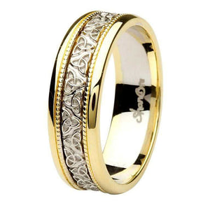 Celtic Trinity Knot Two Tone Gold Gents Wedding Ring