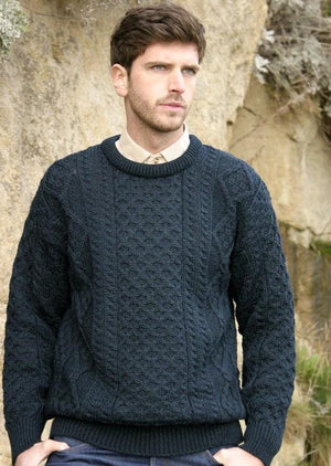 Inis Mor Blackwatch Aran Crew Neck Sweater