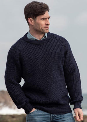 Navy Fisherman Rib Crew Neck Sweater