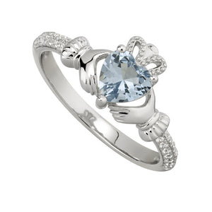 Solvar December Blue Topaz Claddagh Birthstone Ring s21062012