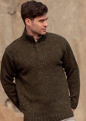 Donegal Wool Mens Half Zip Green Sweater
