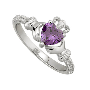 Solvar February Amethyst Birthstone Claddagh Ring s2106202