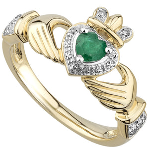 14K Gold Emerald & Diamond Claddagh Engagement Ring
