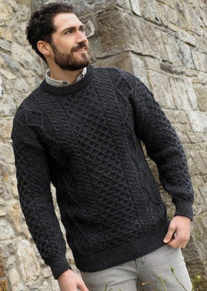 Inis Mor Aran Crew Neck Charcoal Sweater