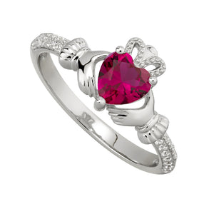 Solvar July Ruby Claddagh Birthstone Ring s2106207