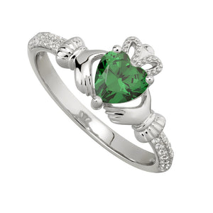 Solvar May Emerald Claddagh Birthstone Ring