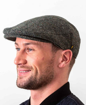 Donegal Tweed Green Herringbone Cap