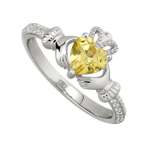 Solvar November Citrine Claddagh Birthstone Ring s21062011