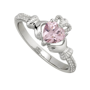 Solvar October Pink Topaz Claddagh Birthstone Ring s2106210