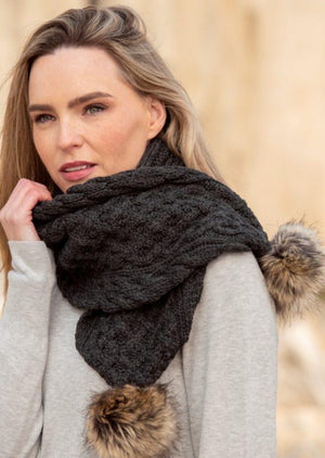 Aran Crafts Charcoal Pom Pom Scarf