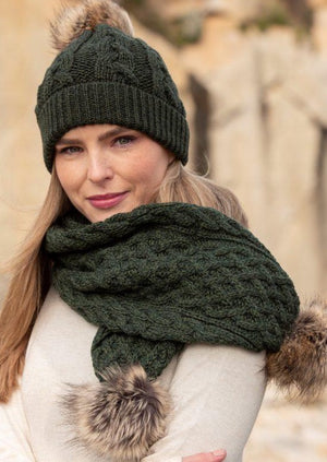 Aran Crafts Green Pom Pom Scarf