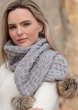 Aran Crafts Gray Pom Pom Scarf