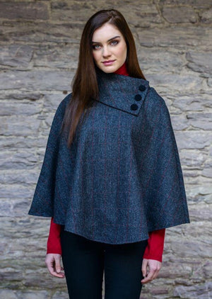 Mucros Weavers Charcoal Poncho
