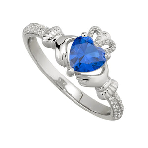 Solvar Sapphire September Claddagh Birthstone Ring s2106209