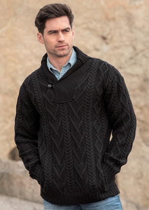 Aran Black Shawl Collar Mans Sweater