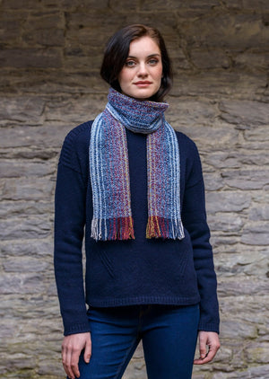 Mucros Weavers Blue Mix Skellig Scarf