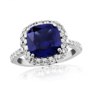Waterford Crystal Sterling Silver Large Sapphire Ring
