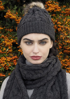 Aran Chunky Cable Knit Charcoal Scarf