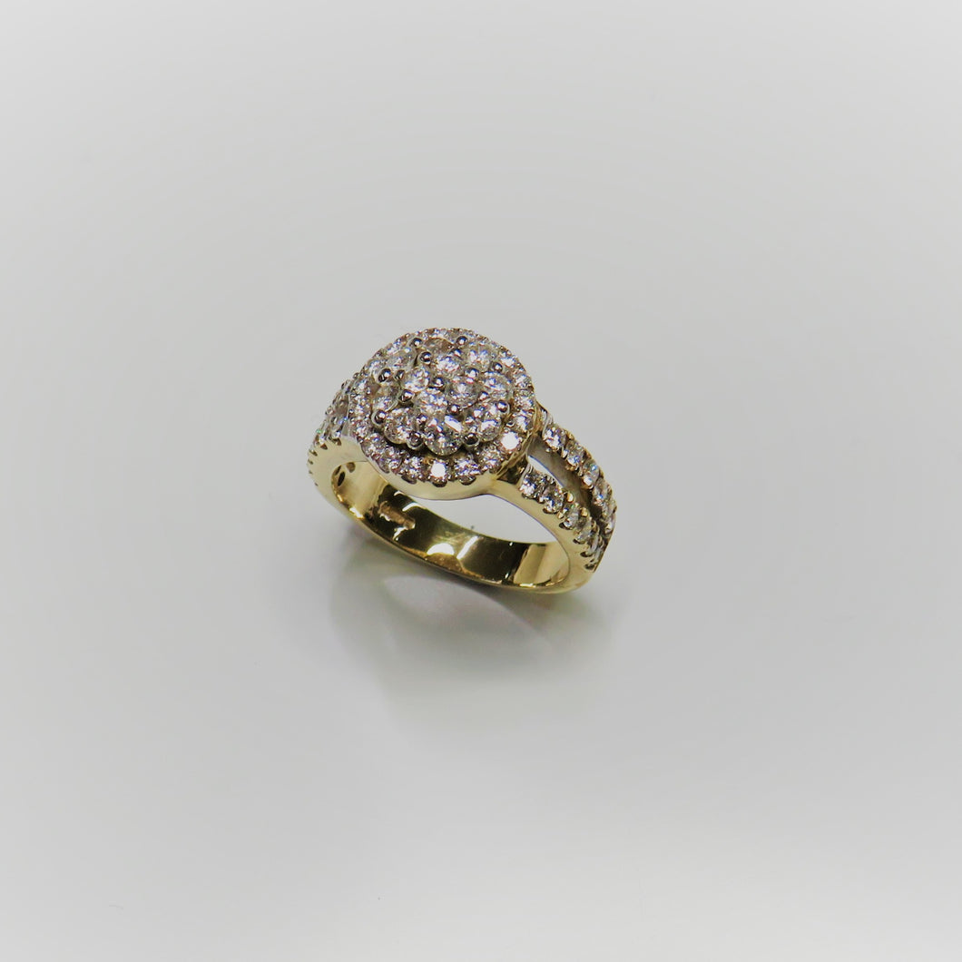 9ct Yellow Gold Round Micro Pave Set Halo Ring