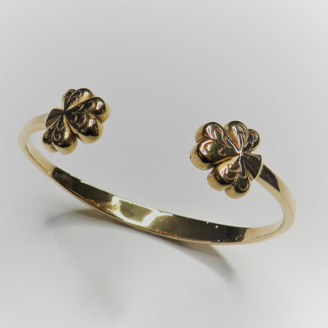 9ct Yellow Gold Ladies Shamrock Bangle