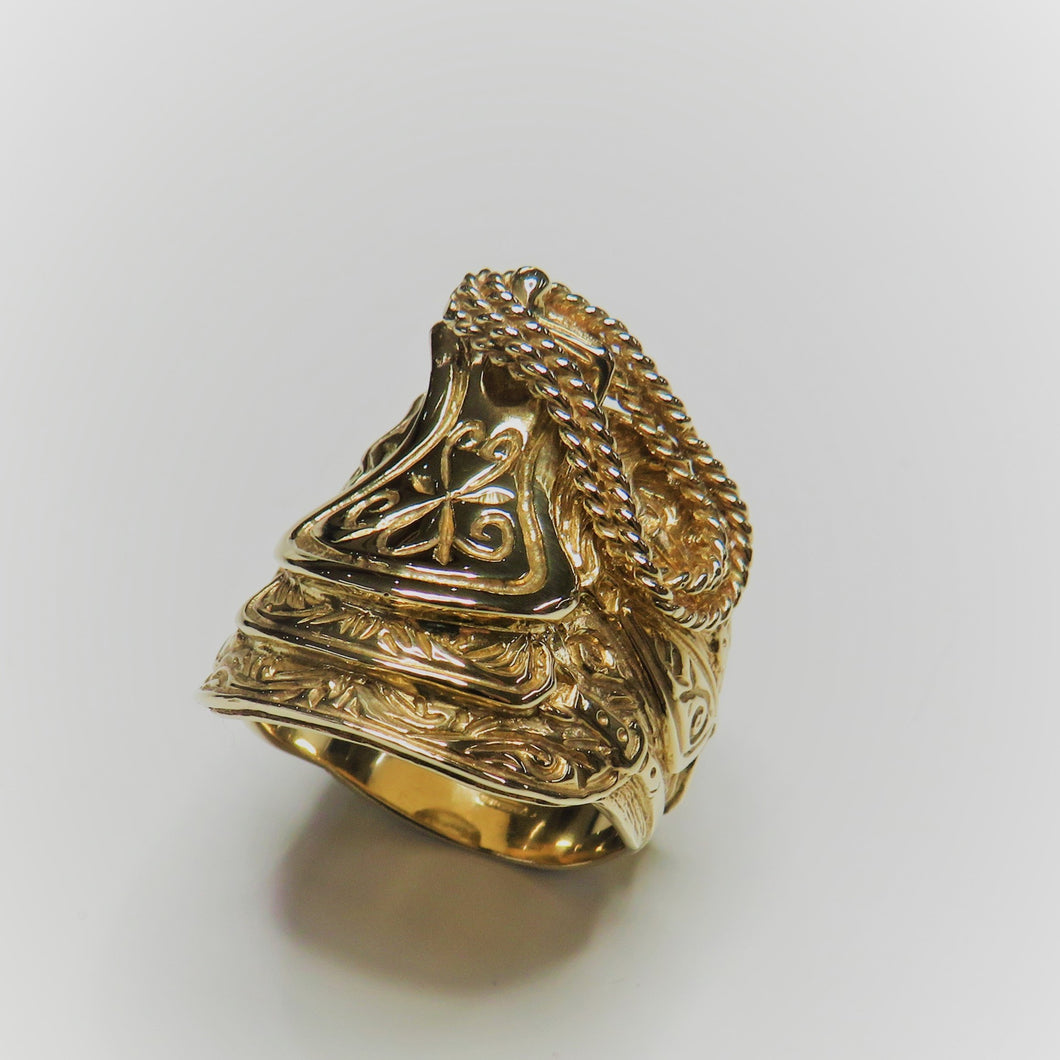 9ct Yellow Gold Large Saddle Ring